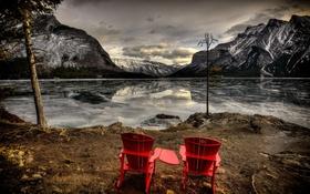 Обои горы, озеро, вечер, кресла