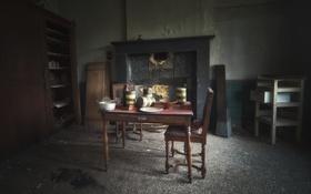 Картинка стол, комната, стул, камин