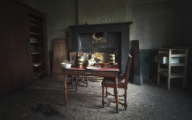 Обои комната, стол, камин, стул