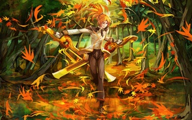 Обои girl, orange, leaf, blades