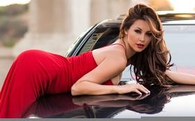 Картинка авто, макияж, красное платье, Melyssa Grace
