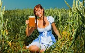 Картинка природа, рожь, пиво, Девушка, коса, сарафан
