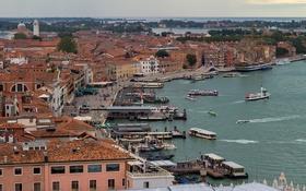 Обои ночь, огни, дома, Италия, панорама, Венеция, вид с кампанилы