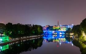 Обои ночь, город, река, фото, дома, Италия, Turin