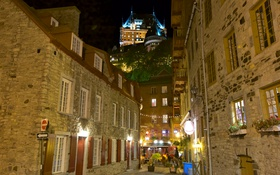 Обои Канада, Квебек, дома, замок Фронтенак, ночь, улица, огни
