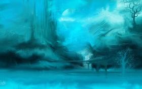 Обои абстракция, арт, деревья, синева