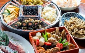 Обои лотос, овощи, роллы, морепродукты, японская кухня, блюда, ассорти