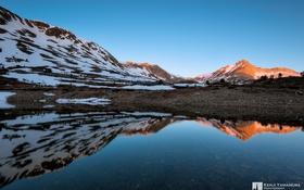 Картинка вода, снег, отражение, photographer, Yosemite, Kenji Yamamura, Saddlebag Lake