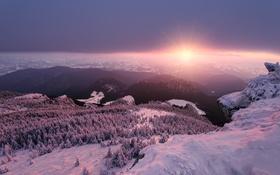 Картинка Sunset, Romania, Piatra Sura and Hasmas mountains, Ceahlau massif, Ocolasul Mare