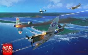 Обои Kittyhawk, RAAF, A6M2, Zero, Curtiss, американский, палубный