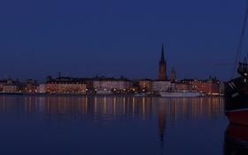 Обои Скандинавия, дома, корабль, огни, ночь, небо, море