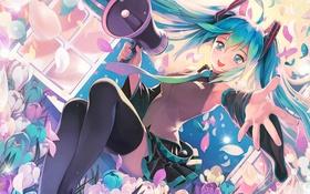 Картинка девушка, цветы, аниме, Hatsune Miku, Vocaloid, art, мегафон