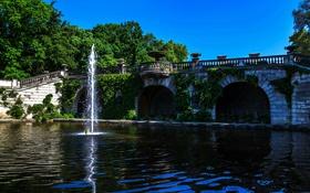 Обои зелень, деревья, мост, пруд, парк, Германия, фонтан