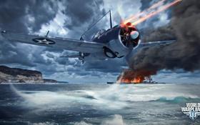 Обои самолет, огонь, корабль, aviation, авиа, MMO, Wargaming.net