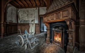 Картинка комната, коляска, камин
