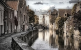 Обои Брюгге, Бельгия, канал, Bruges
