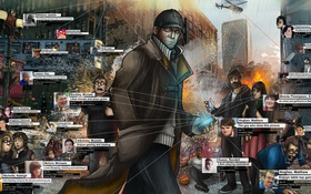 Картинка fan art, Watch Dogs, Aiden Pearce, hacking