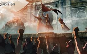Картинка горы, воины, знамя, Dragon Age: Inquisition, coronation
