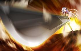 Картинка девушка, оружие, меч, арт, лента, бант, makita maki
