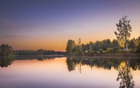 Обои небо, деревья, закат, озеро, дом, отражение, зеркало