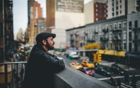 Обои люди, шапка, здания, Нью-Йорк, светофор, мужчина, борода