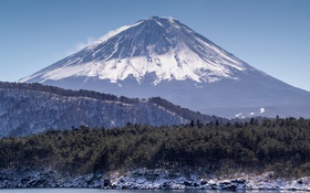 Картинка гора, вулкан, пейзаж, деревья, Япония, Fuji