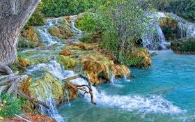 Картинка водопад, река, деревья, лес
