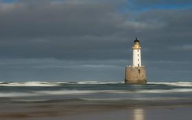 Картинка небо, волны, маяк, тучи, море