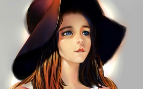 Картинка портрет, Девушка, шляпа, синие глаза