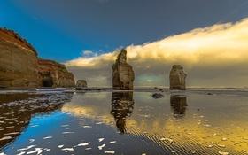 Картинка море, небо, облака, скалы, берег, отлив