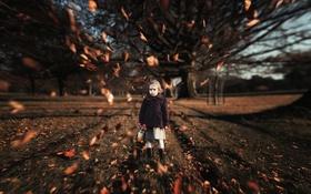 Обои листья, размытие, девочка