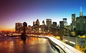Обои отражение, Нью-Йорк, небоскребы, зеркало, Бруклинский мост, сумерки, Манхэттен