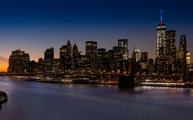 Обои New York, Long, NYC, City, Hour, Bridge, Exposure