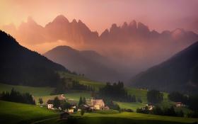 Обои лес, небо, свет, горы, село