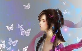Картинка взгляд, девушка, бабочки, фон, волосы, арт, профиль