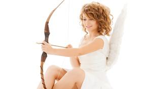 Картинка Девушка, крылья, ангел, лук, стрела