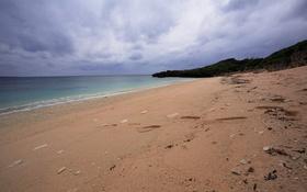 Картинка песок, море, небо, облака, фото, берег, склон