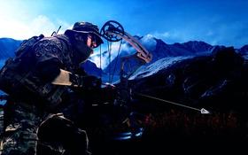 Обои лук, стрела, солдат, Battlefield 4, оружие