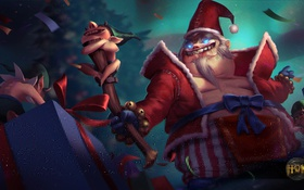 Обои праздник, подарок, новый год, жезл, Heroes of Newerth, King, Bad Santa