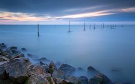 Обои закат, озеро, камни, Нидерланды