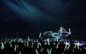 Обои небо, звезды, свет, аниме, арт, vocaloid, hatsune miku