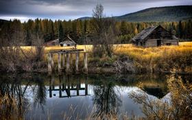 Обои пейзаж, природа, река, домики