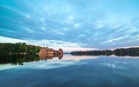 Обои деревья, природа, озеро, отражение, замок, руины, Латвия