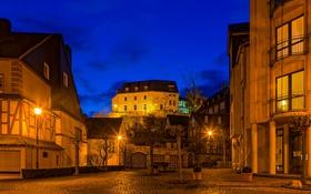 Картинка ночь, огни, улица, дома, Германия, фонари, Kastellaun