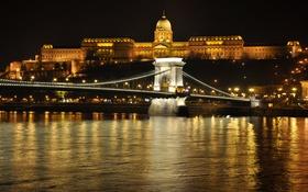Обои ночь, мост, огни, река, дворец, Венгрия, Будапешт