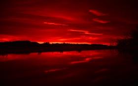 Обои небо, вода, облака, пейзаж, ночь, горизонт