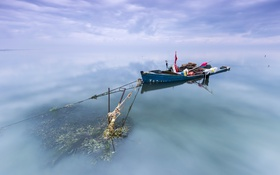 Картинка небо, река, лодка