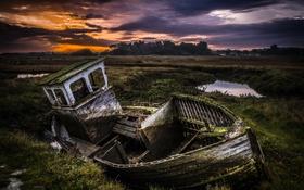Картинка поле, пейзаж, ночь, лодка