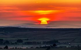 Картинка закат, облака, долина, деревья, солнце, небо, поля