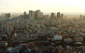 Картинка небо, дома, утро, Япония, Токио, панорама
